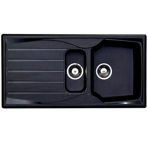 Astracast Sierra 1.5 Bowl Reversible Teflite Kitchen Sink In Black & Waste Kit