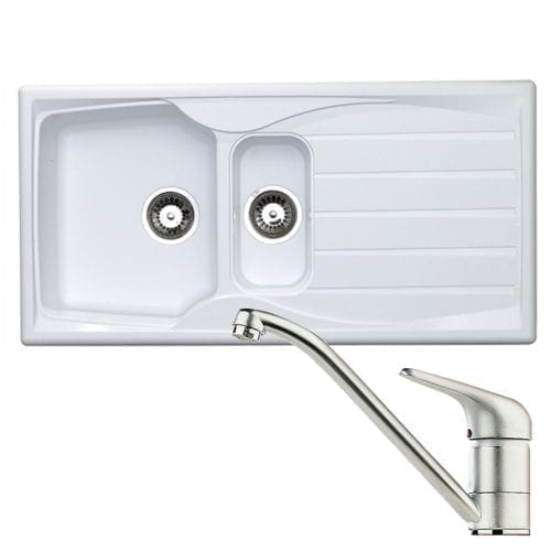 Astracast Sierra 1.5 Bowl White Kitchen Sink & Clearwater Creta Chrome Mixer Tap