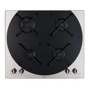 CDA 4Q4SS 59cm Stainless Steel Q-style 4 burner Gas Hob & Cast Iron Pan Supports