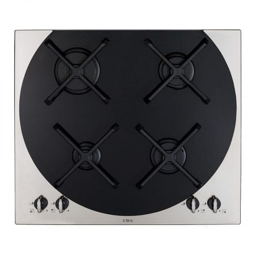 CDA 4Q4SS 59cm Q-style 4 burner Stainless Steel Gas Hob & Cast Iron Pan Supports