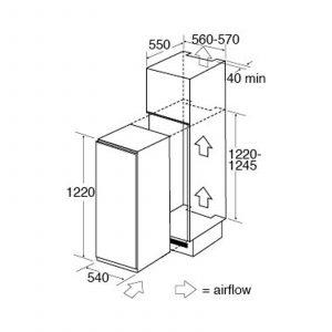 CDA FW582 122cm Integrated In Column Three-Quarter Height White Freezer