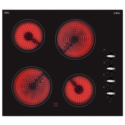 CDA HC6211FR 60CM Four Zone Black Glass Shatterproof Side Control Ceramic Hob