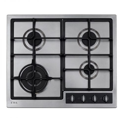 CDA HG6350LSS 58cm Four Burner Gas Stainless Steel Hob - LPG Kit Included