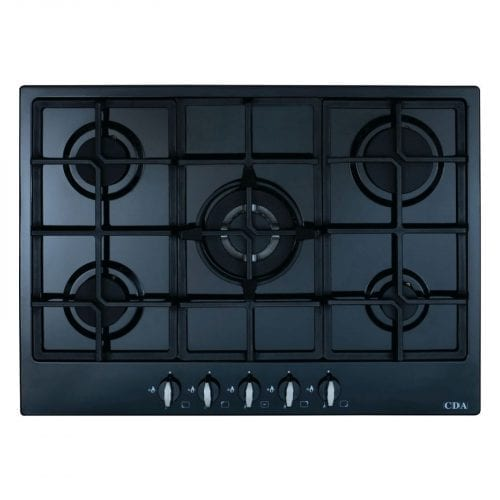 CDA HG7250BL 70cm Five Burner LPG Gas Hob With Cast Iron Pan Supports In Black