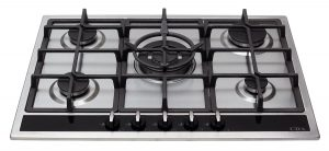 CDA HG7350SS 70cm 5 Burner Front Control Gas Hob in Stainless Steel + Wok Burner