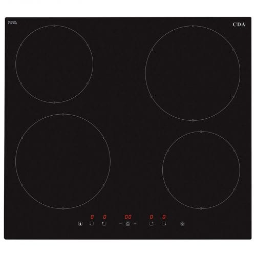 CDA HN6111FR 60cm Four Zone Induction Touch Control Easy Clean Black Glass Hob
