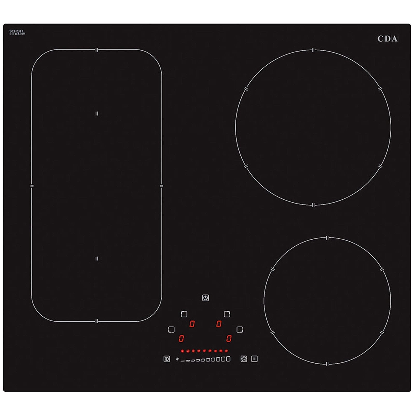 Cda hn6731fr 60cm slider touch control 4 zone frameless induction black hob at ship it appliances