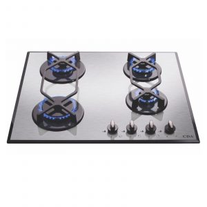 CDA HVG620SS 60cm Designer Stainless Steel Four Burner Gas on Glass Hob