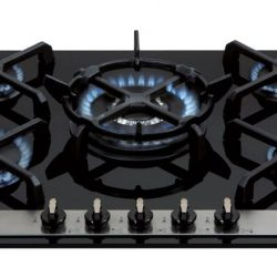 CDA HVG77 70cm Designer Five Burner Gas on Glass Hob in Black
