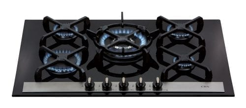 CDA HVG77 70cm Designer Five Burner Gas on Glass Hob in Black
