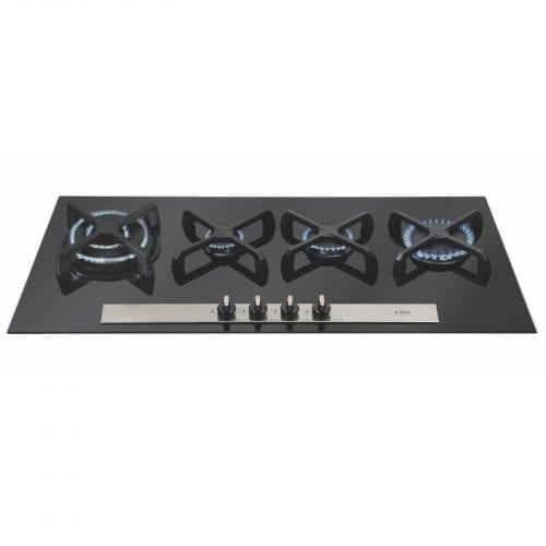 CDA HVG93 90cm Designer Four Burner Linear Gas on Glass Hob in Black