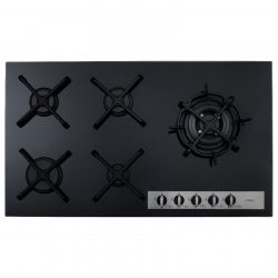 CDA HVG96BL 87cm Front Control Five Burner Gas On Glass Black Kitchen Hob