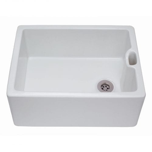 CDA KC10WH 60cm Large Single Bowl Belfast Ceramic Kitchen Sink In White