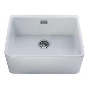 CDA KC11WH 60cm Large Single Bowl Belfast Ceramic Kitchen Sink In White