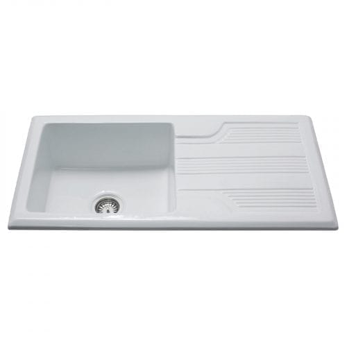 CDA KC23WH Handmade Single Bowl Ceramic Reversible Kitchen Sink In White