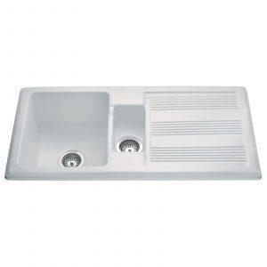 CDA KC24WH Handmade 1.5 Bowl Ceramic Reversible Heavy Duty White Kitchen Sink