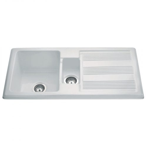 CDA KC24WH Handmade 1.5 Bowl Ceramic Reversible Heavy Duty White Kitchen Sink