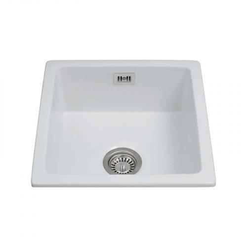 CDA KC42WH Handmade Fireclay Undermount Single Bowl Ceramic White Kitchen Sink