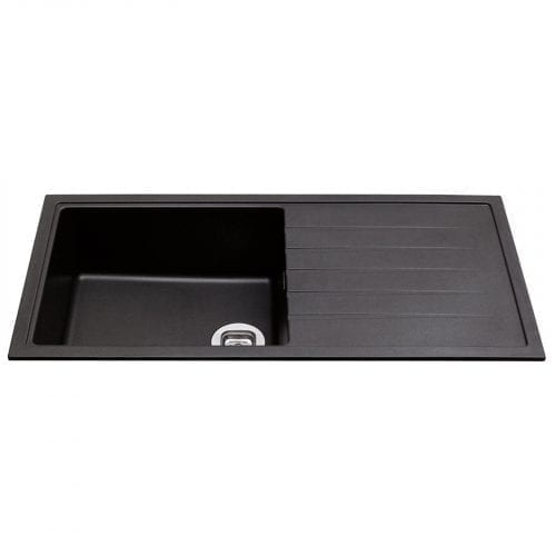 CDA KG43BL 1 Bowl Granite/Quartz Composite Reversible Kitchen Sink In Anthracite
