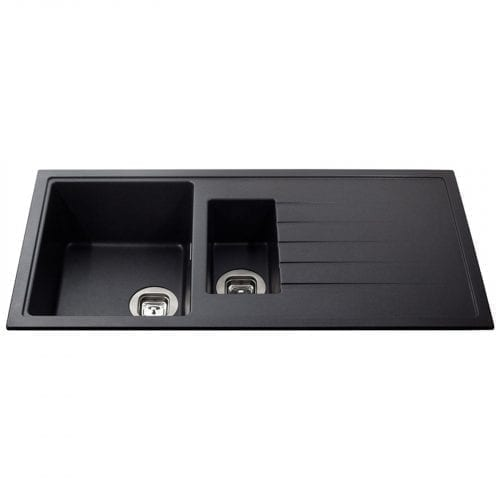 CDA KG44BL 1.5 Bowl Granite Quartz Composite Reversible Kitchen Sink In Black