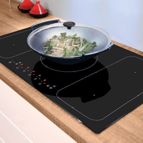 CDA HN9611FR 90cm Induction 5 Zone Front Touch Control Black Glass Frameless Hob