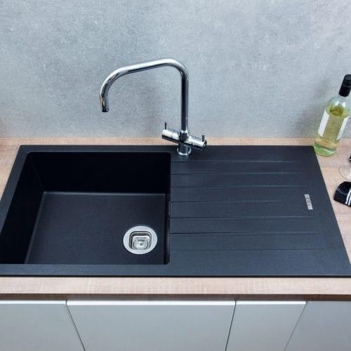 CDA KG73BL 1 Bowl Granite/Quartz Composite Reversible Anthracite Kitchen Sink