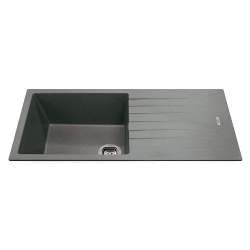 CDA KG73GR 1.0 Bowl Granite Quartz Composite Reversible Kitchen Sink In Graphite