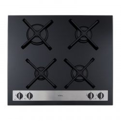 CDA HVG66BL 60cm Front Control Four Burner Black Gas On Glass Kitchen Hob