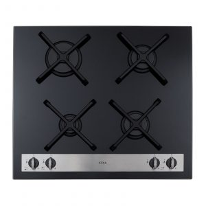 CDA HVG66BL 60cm Front Control Four Burner Black Gas On Glass Kitchen Hob
