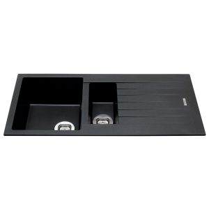CDA KG74BL 1.5 Bowl Granite Quartz Composite Reversible Kitchen Sink In Black