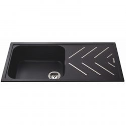 CDA KG81BL 1 Bowl Anthracite Black Composite Kitchen Sink And Steel Drainer Bars