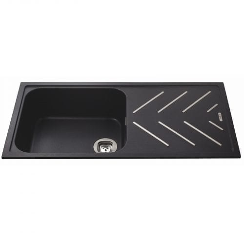 CDA KG81BL 1.0 Bowl Black Composite Kitchen Sink With St/Steel Drainer Strips