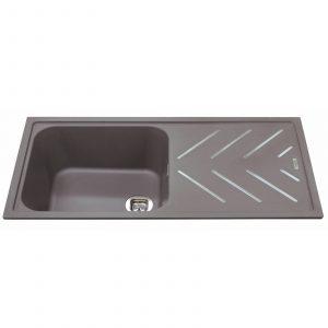 CDA KG81GR 1 Bowl Graphite Grey Composite Kitchen Sink With Steel Drainer Bars