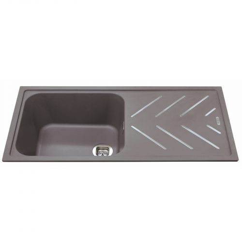 CDA KG81GR 1.0 Bowl Composite Graphite Kitchen Sink With St/Steel Drainer Bars