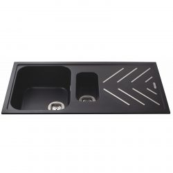 CDA KG82BL 1.5 Bowl Anthracite Black Composite Kitchen Sink & Steel Drainer Bars