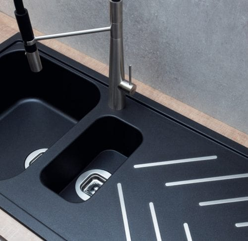 CDA KG82BL 1.5 Bowl Composite Black Kitchen Sink With St/Steel Drainer Bars