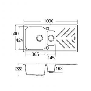 CDA KG82BL 1.5 Bowl Anthracite Black Composite Kitchen Sink & Steel Drainer Bars