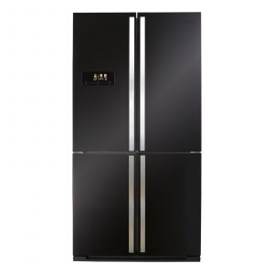 CDA PC900BL 90cm Black A+ American 4 Door Fridge Freezer With Digital Display