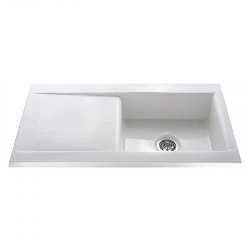 CDA KC73WH Handmade Fireclay Designer Single Bowl Ceramic White Kitchen Sink