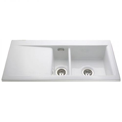 CDA KC74WH Handmade Designer 1.5 Bowl Ceramic White Reversible Kitchen Sink