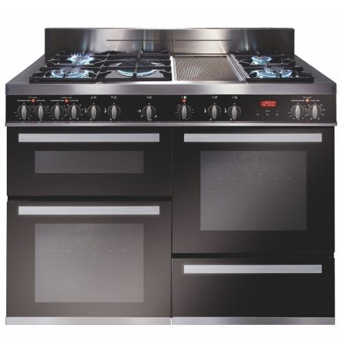 CDA RV1200SS 120cm Triple Cavity Range Cooker, 5 Burner Gas Hob & Griddle