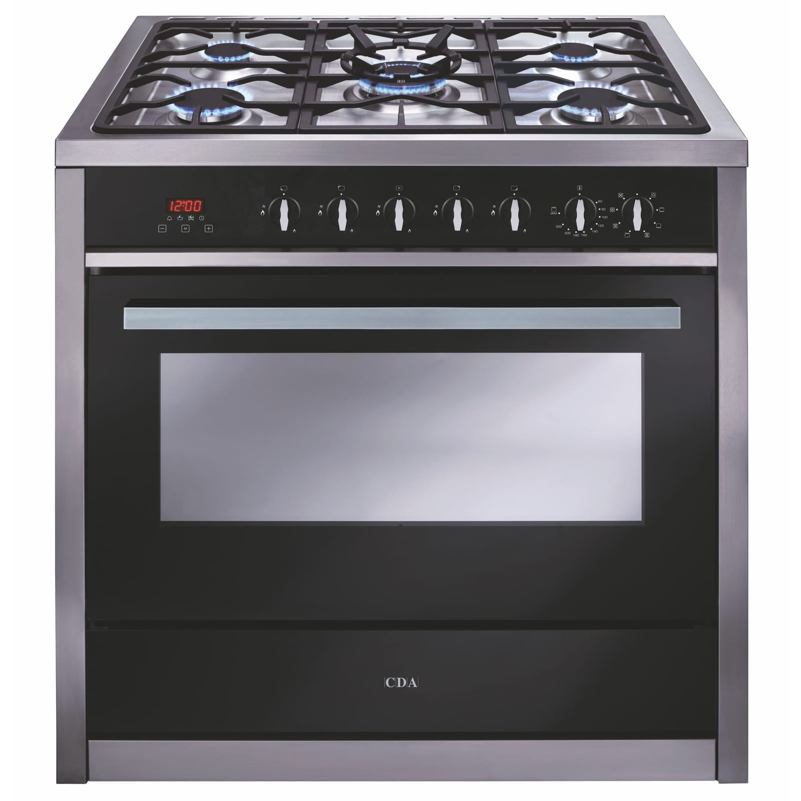 cda rv911ss 90cm single cavity range cooker 5 burner gas. Black Bedroom Furniture Sets. Home Design Ideas