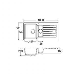 CDA KG74GR 1.5 Bowl Granite Quartz Composite Reversible Kitchen Sink In Graphite