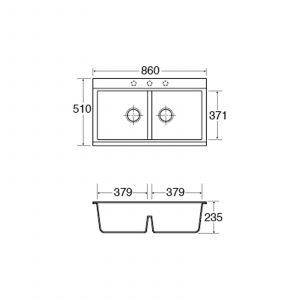 CDA KG80BL 2 Bowl Composite Antibacterial Black Kitchen Sink W/ Metallic Finish