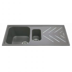 CDA KG82GR 1.5 Bowl Graphite Grey Composite Kitchen Sink With Steel Drainer Bars