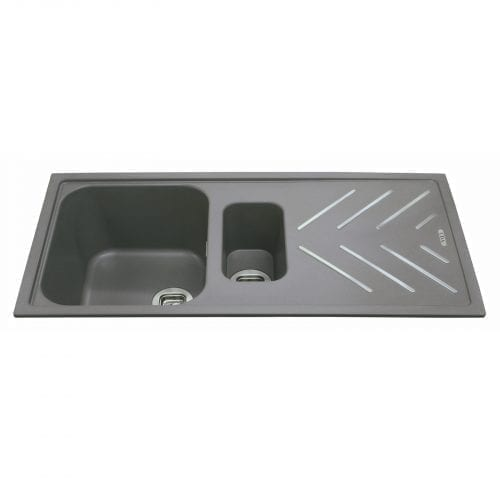 CDA KG82GR 1.5 Bowl Composite Graphite Kitchen Sink With St/Steel Drainer Bars