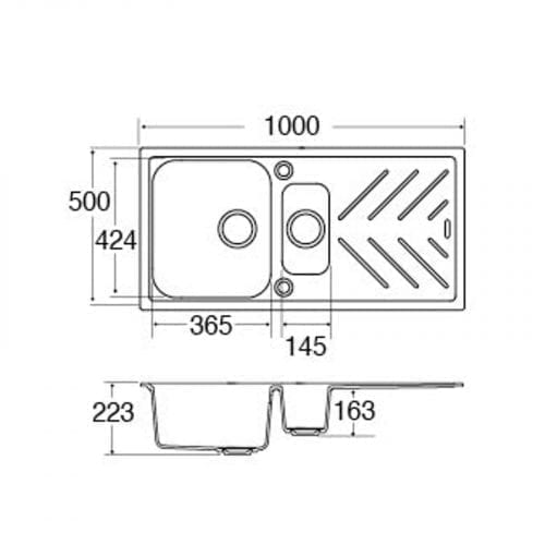 CDA KG82GR 1.5 Bowl Composite Graphite Kitchen Sink With St/Steel Drainer Bars