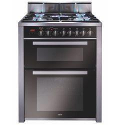CDA RV701SS 70cm Twin Cavity Range Cooker, 2 Electric Ovens & 5 Burner Gas Hob