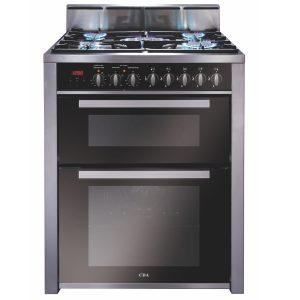 CDA RV701SS 70cm Twin Cavity Range Cooker, 2 Electric Ovens & 5 Burner Gas Hob