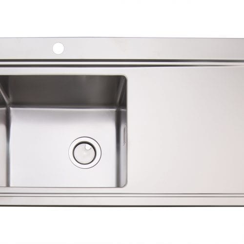 Clearwater Glacier 1 Bowl Stainless Steel Sink & White Glass Chopping Boards